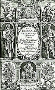 The cover of John Gerard's 1597 'The Herball, or Generall Historie of Plants'